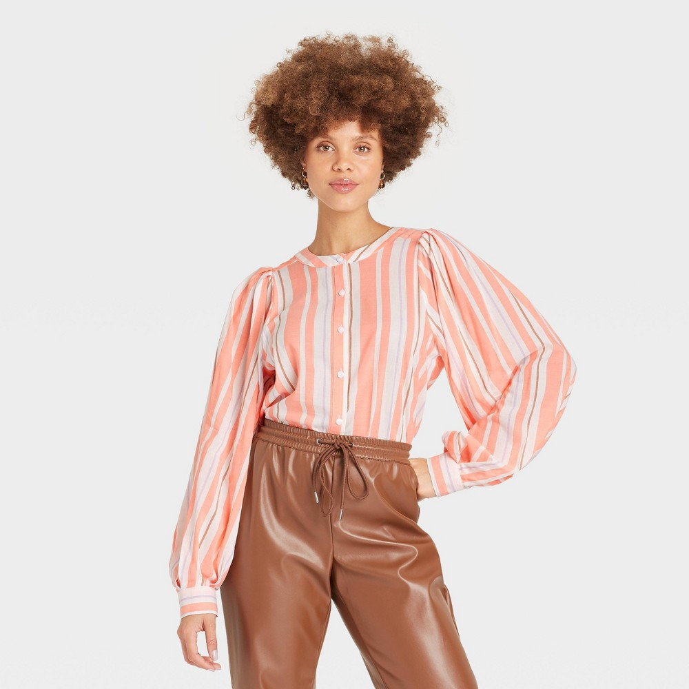 Women 39 S Multi Striped Long Sleeve Button Down Femme Top A New Day 8482 Coral Xxl