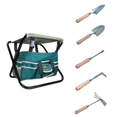 7pc Detachable Canvas Tool Bag and Heavy Duty Steel Tools - Green - G & F Products