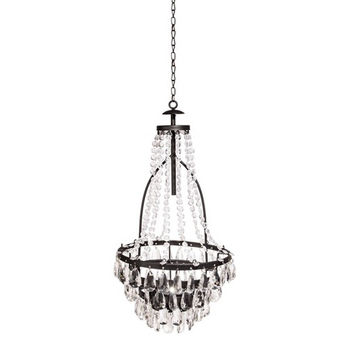 High Solar LED Metal and Acrylic Beaded Chandelier - Gerson International - image 1 of 2
