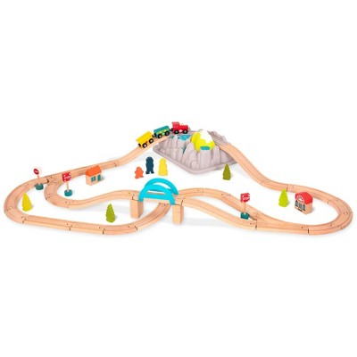 B. toys Wooden Train Set - Wood & Wheels