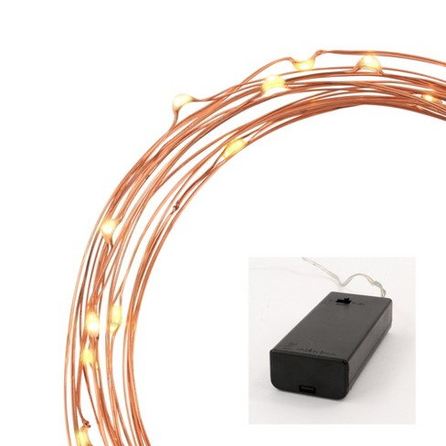 Philips 30ct Christmas LED Dewdrop Lights Battery Operated Warm White Twinkle Copper Wire - image 1 of 4