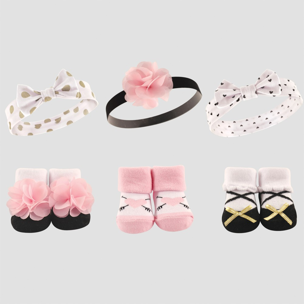 Hudson Baby Girls' 6pc Socks & Headbands, Dots - Gold 0-24M