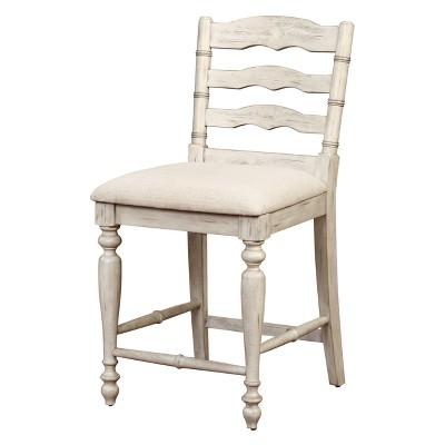 24  Marino Counter Stool Upholstered Seat & Back - White Wash Wood - Linon
