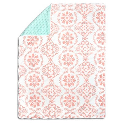The Peanutshell Pompom Blanket - Medallion Medley - Coral/Mint