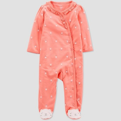 Baby Girls' Daisy Cats Sleep 'N Play One Piece Pajama - Just One You® made by carter's Peach 3M