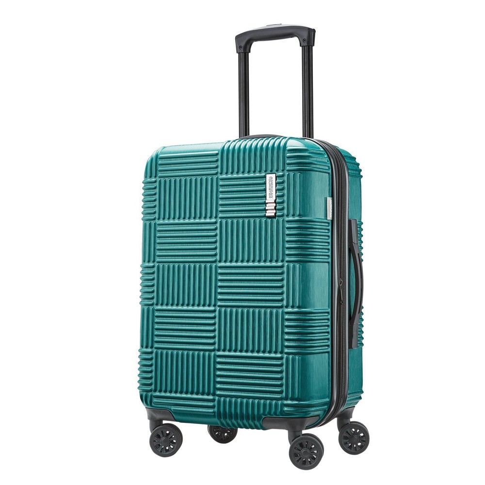 "Image of ""American Tourister 20"""" Checkered Hardside Spinner Suitcase - Green"""