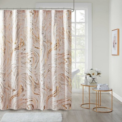Vanessa Printed Marble Metallic Shower Curtain