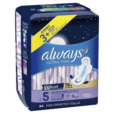 Always Ultra Thin Extra Heavy Overnight Pads : Target