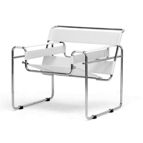 Jericho Cream Leather Mid Century Modern Accent Chair White Baxton