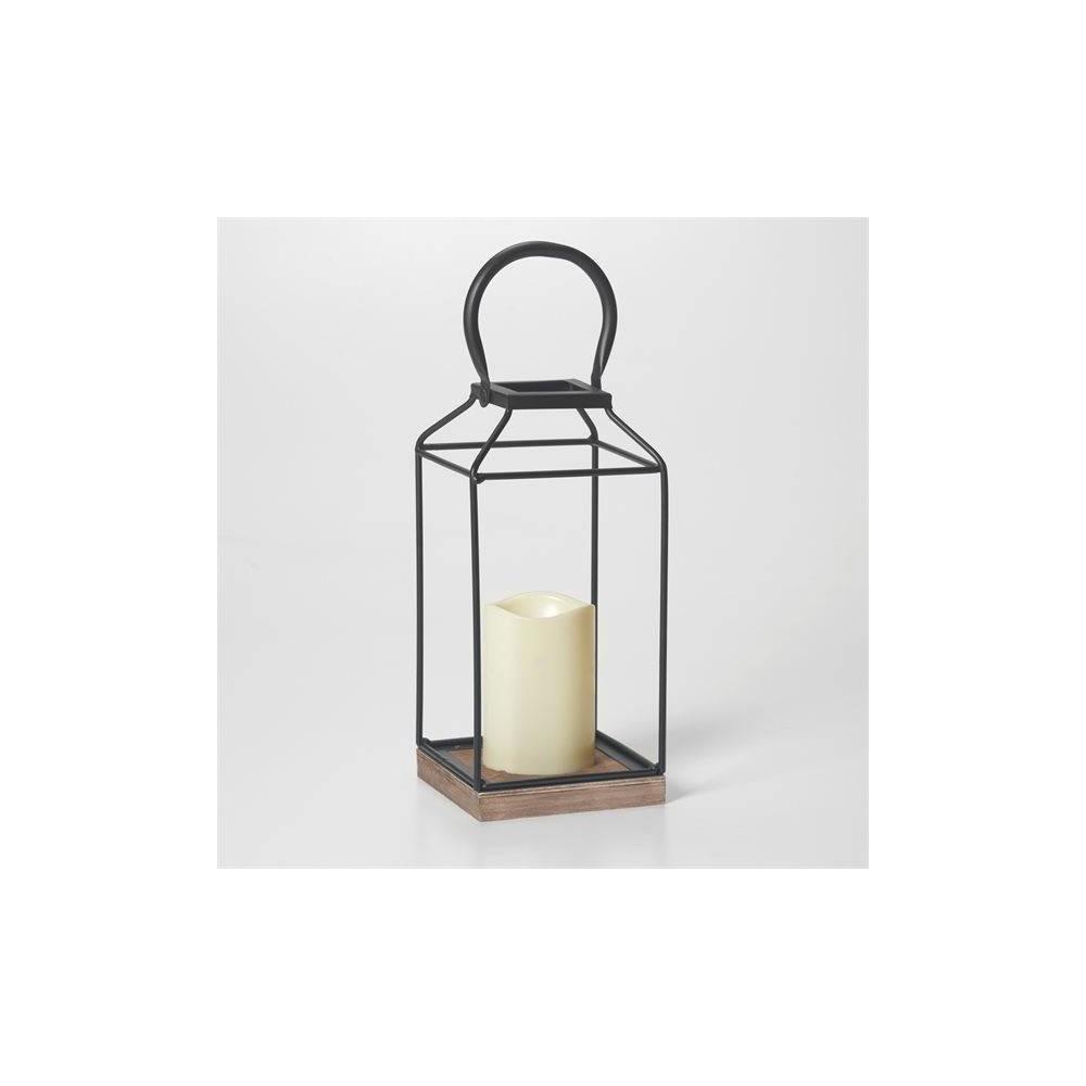 "Image of ""11"""" Claudia Metal Outdoor Lantern with Black/Bronze Base - Smart Living"""