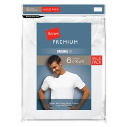 Hanes Premium Men's 6pk Crew Neck T-Shirt - White