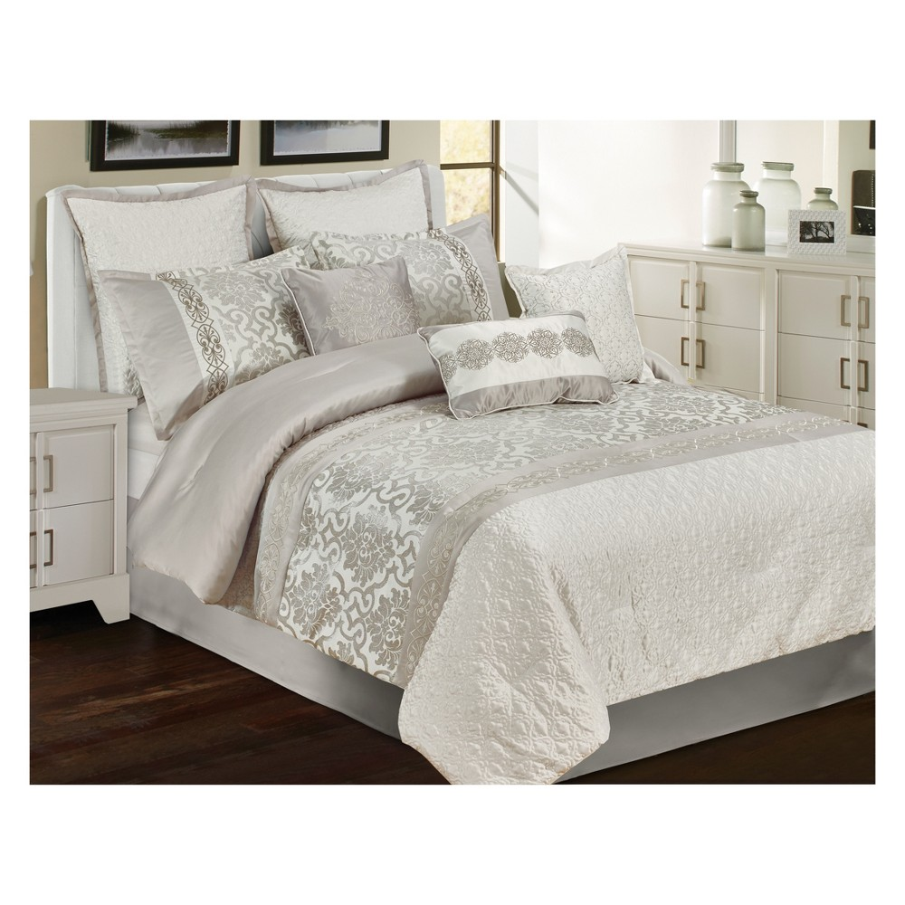 9pc King Welby Comforter Set Silver - Riverbrook Home