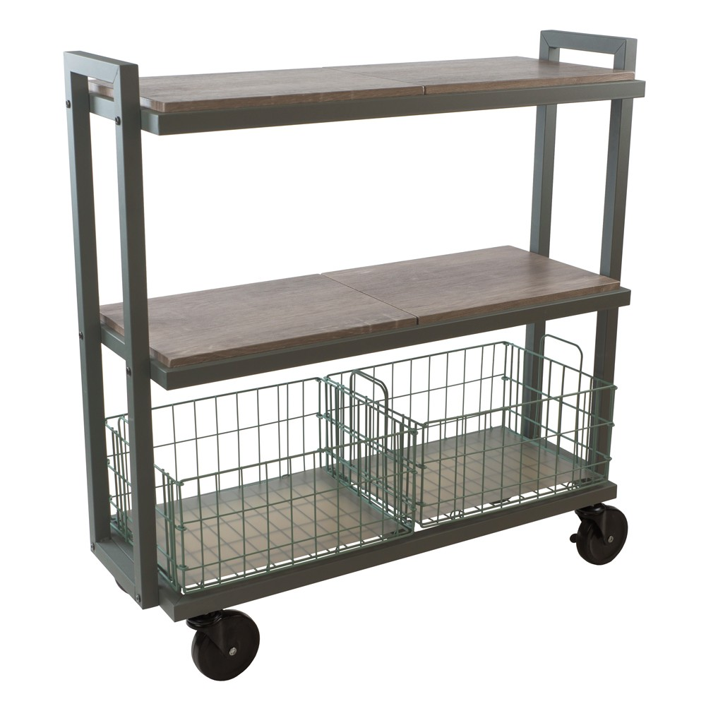 Image of Cart System with wheels 3 Tier Green - Urb Space