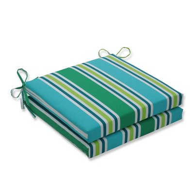 "20"" x 20"" x 3"" 2pk Aruba Stripe Squared Corners Outdoor Seat Cushions Blue - Pillow Perfect"