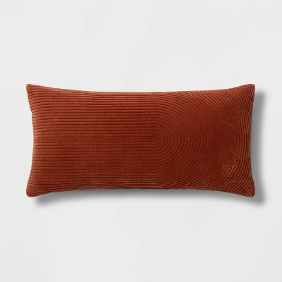 Oversize Lumbar Quilted Horseshoe Velvet Pillow Orange - Project 62™
