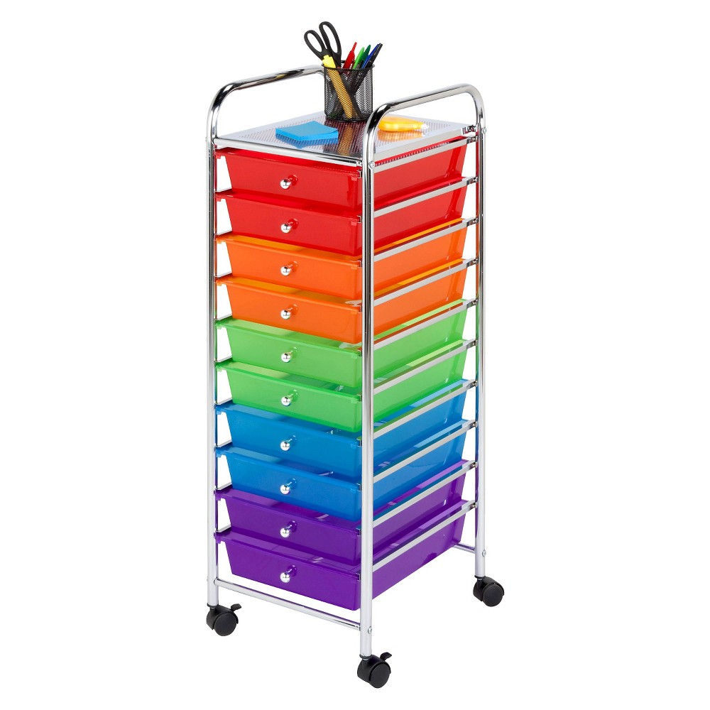 Honey-Can-Do 10-Drawer Rolling Cart, Multi-Colored