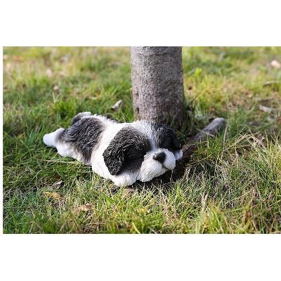 """2"""" Polyresin Sleepy Shih Tzu Puppy Statute Black/White - Hi-Line Gift"""