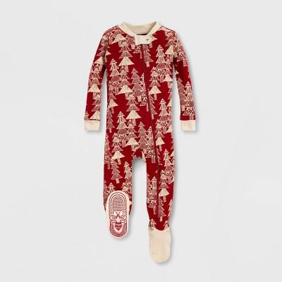 Burt's Bees Baby® Etched Evergreens Tree Organic Cotton Sleeper - Red 0-3M