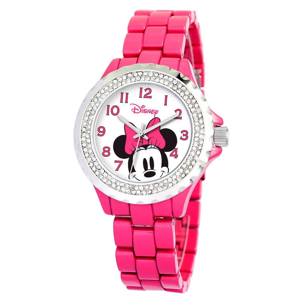Women's Disney Minnie Mouse Enamel Sparkle Watch - Pink