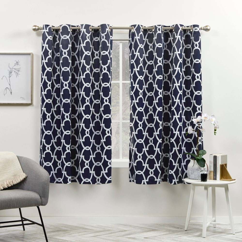 Set Of 2 108 34 X52 34 Gates Sateen Woven Room Darkening Grommet Top Window Curtain Panel Blue Blue Exclusive Home