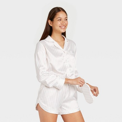 Women's 3pc Striped Satin Long Sleeve Notch Collar Top and Shorts Pajama Set with Eye Cover- Stars Above™ Soft Pink M