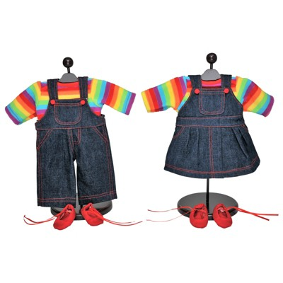 The Queen's Treasures 15 Inch Doll Set of Two Overall Skirt & Pants Outfits
