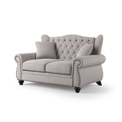 Tufted Loveseat Light Gray Iohomes