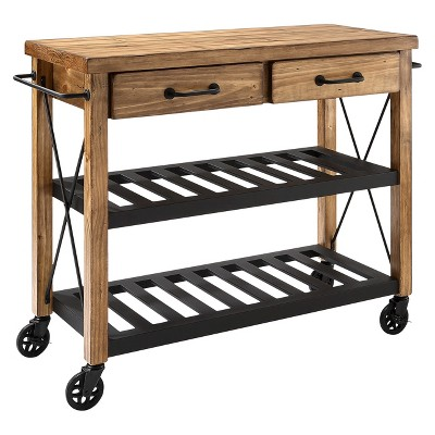 Superieur Roots Rack Industrial Kitchen Cart Wood/Natural   Crosley
