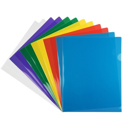 """JAM Paper Plastic Sleeves 9"""" x 12"""" Assorted Colors 12/Pack 380SASST"""