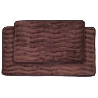 Wave Bath Mat 2pc Chocolate - Yorkshire Home