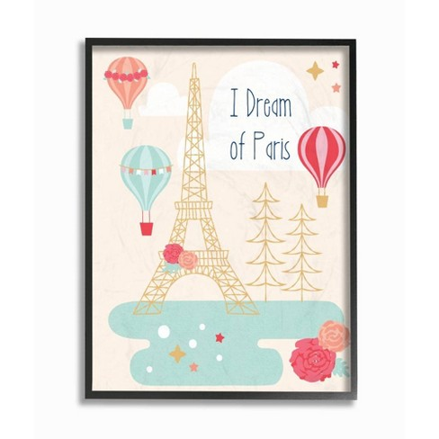 """16""""x1.5""""x20"""" I Dream of Paris Oversized Framed Giclee Texturized Art - Stupell Industries - image 1 of 3"""