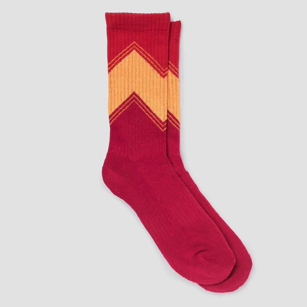 Image of Men's Human Knowledge Retro V's Crew Socks - Red 6-12, Men's, Size: Small
