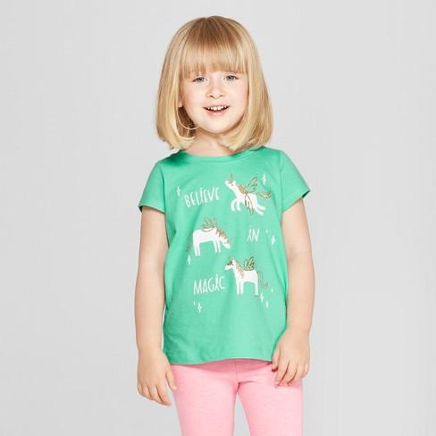 Toddler Girls' Unicorn Short Sleeve T-Shirt - Cat & Jack™ Green 5T - image 1 of 3