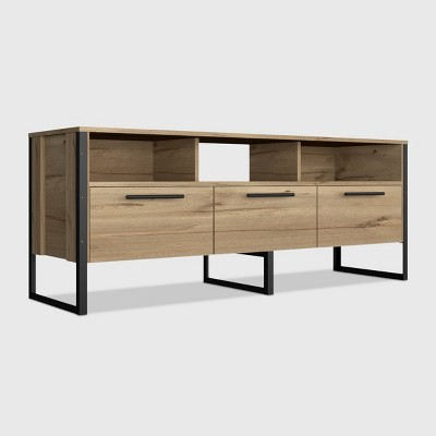 Emery 3 Drawer Media Console Table Light Wood - RST Brands