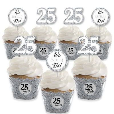 Big Dot of Happiness We Still Do - 25th Wedding Anniversary - Cupcake Decoration - Anniversary Party Cupcake Wrappers and Treat Picks Kit - Set of 24