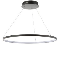 "23.7"" Brice Round Integrated LED Metal Chandelier Matte Black - JONATHAN Y"