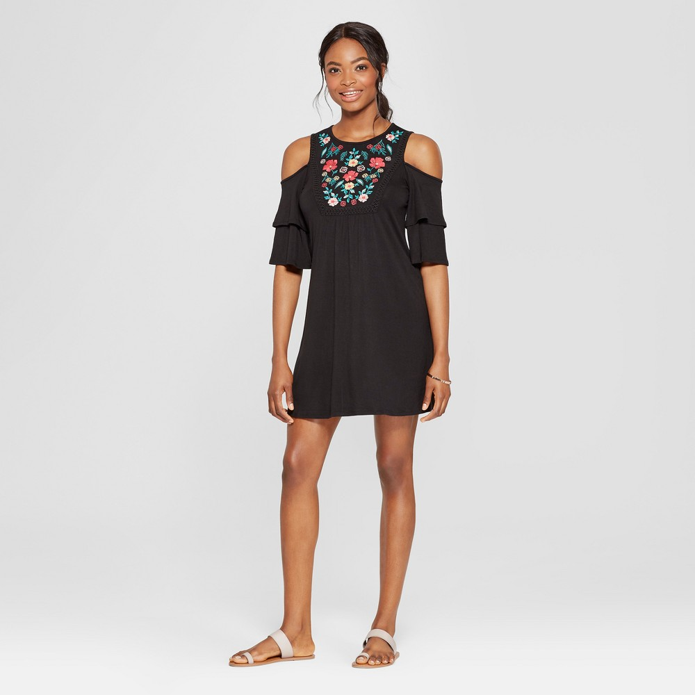 Women's Short Sleeve Cold Shoulder Embroidered Dress - 3Hearts (Juniors') Black XS was $29.98 now $13.49 (55.0% off)