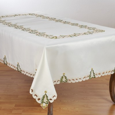 Saro Lifestyle Nostalgic Holiday Christmas Tree Tablecloth