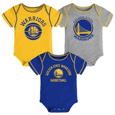 NBA Golden State Warriors Baby Boys' Rookie Bodysuit Set 3pk - 0-3M