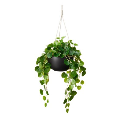 """24"""" x 14"""" Faux String of Hearts Plant in Ceramic Pot Black - Hilton Carter for Target"""