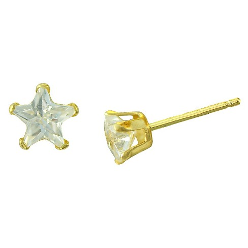 Women's Cubic Zirconia Star Stud with Filled Clutch in 10k Gold (4mm) - image 1 of 1