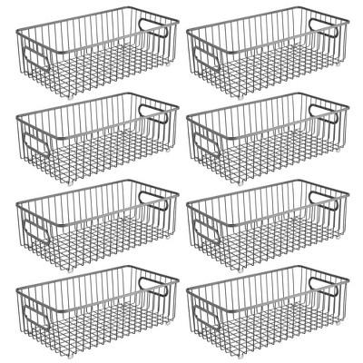 mDesign Metal Kitchen Pantry Food Storage Basket Bin, Long, 8 Pack
