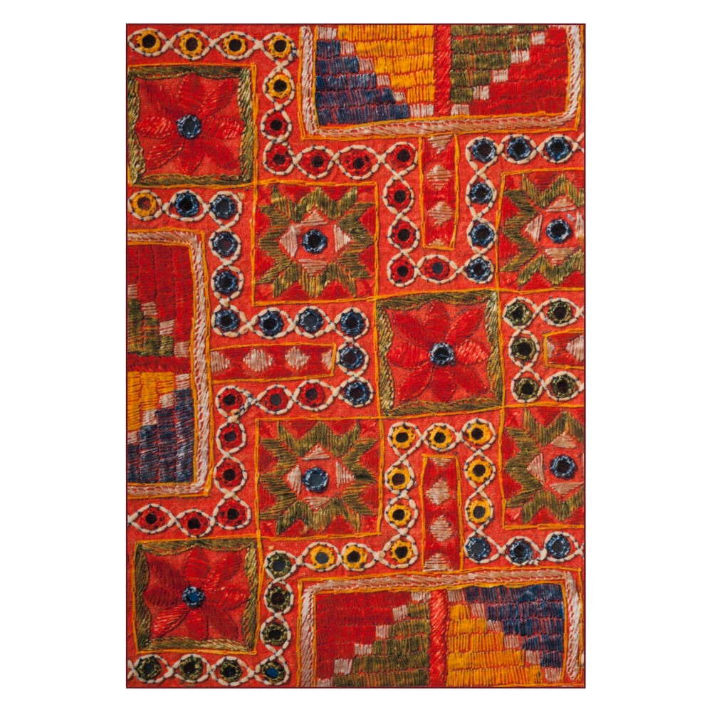 8'X10' Tribal Design Loomed Area Rug Orange - Safavieh, Multicolored