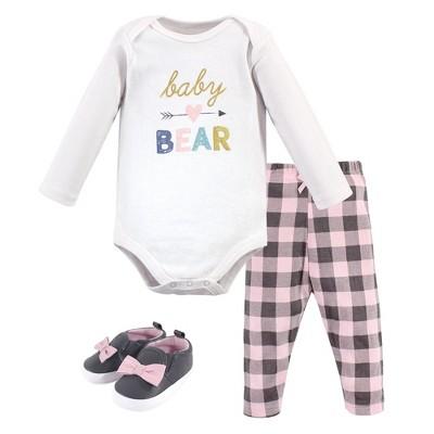 Hudson Baby Infant Girl Cotton Bodysuit, Pant and Shoe 3pc Set, Girl Baby Bear