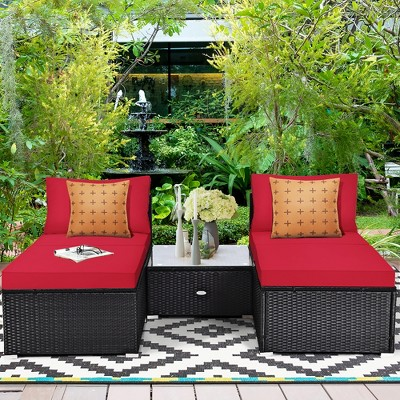 Costway 5PCS Patio Rattan Wicker Furniture Set Armless Sofa Cushioned Red\Turquoise