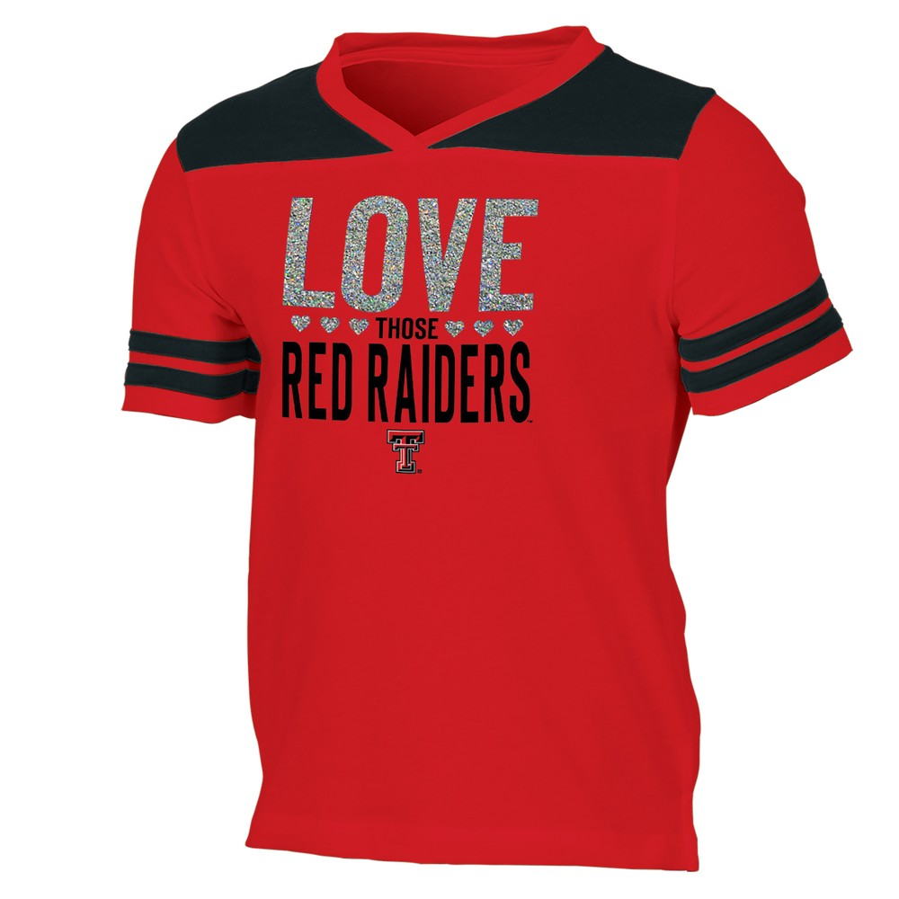 Texas Tech Red Raiders Girls' Short Sleeve Team Love V-Neck T-Shirt S, Multicolored
