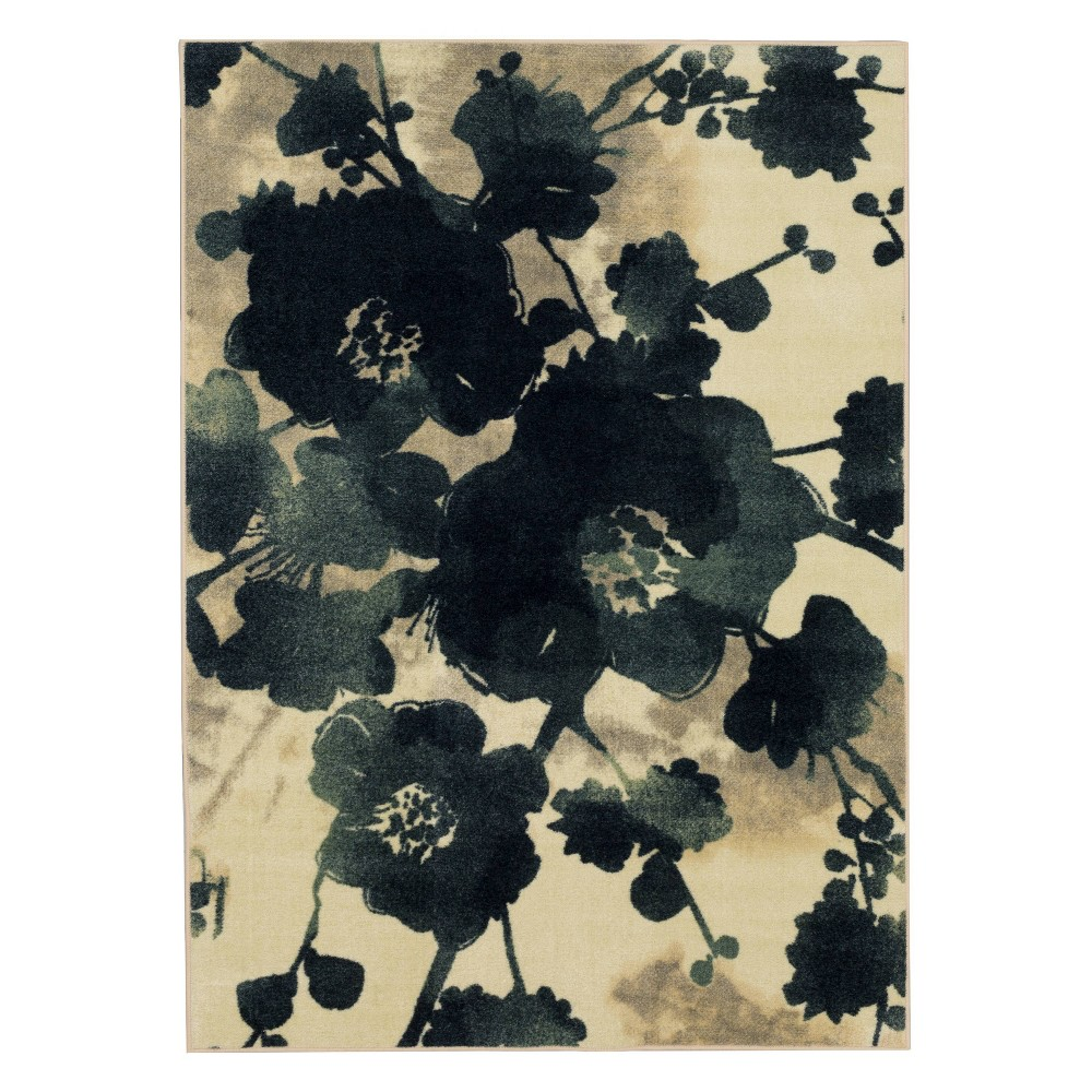 Image of 5'x7' Home Watercolor Floral Area Rug Blue/Cream - Mohawk