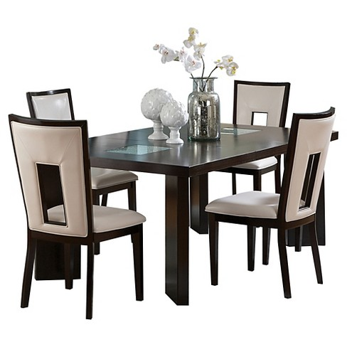 5 Piece Broward Dining Table Set Wood White Brown