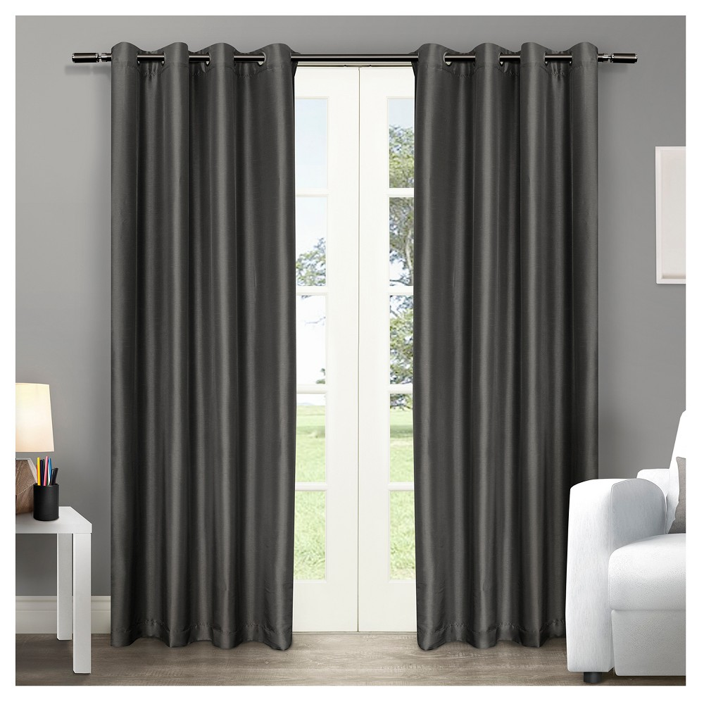 Chatra Faux Silk Grommet Top Window Curtain Panel Pair Black Pearl (54
