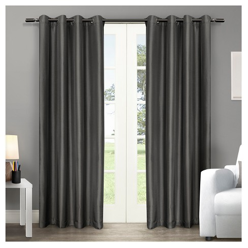 Chatra Faux Silk Grommet Top Window Curtain Panel Pair - Exclusive Home™ - image 1 of 1